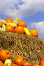 Pumpkins on bales of straw (hay) Royalty Free Stock Photo