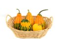 Pumpkins basket with in front of a white background Royalty Free Stock Image