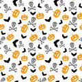 Pumpkins bats and skull seamless halloween background with Stock Photos