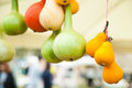 Pumpkins of different sort tied together with selective focus Royalty Free Stock Photography