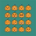 Pumpkins emoticon set design inspiration
