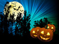 Pumpkins and full moon Royalty Free Stock Photo