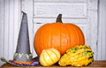 Pumpkins, gourds and a witches hat Royalty Free Stock Photo