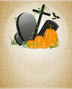 Pumpkins and graves on a beige background with retro patterns Stock Image