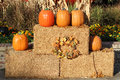 Pumpkins and hay bales  Stock Images