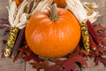 Pumpkins indian corn and fall leaves Royalty Free Stock Photo