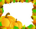 Pumpkins and leaves two on a background of autumn halloween greeting card Royalty Free Stock Photo