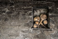 Pumpkins in niche with contrast stonewall Royalty Free Stock Photo