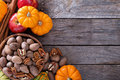 Pumpkins, nuts, indian corn and apples Royalty Free Stock Photo