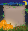 Pumpkins and parchment ancient against the night sky halloween invitation Stock Photography