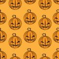 Pumpkins pattern seamless on orange happy halloween party celebration festival background vector