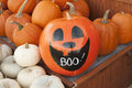 Pumpkins for sale an image of halloween Royalty Free Stock Images