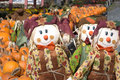 Pumpkins and Scarecrows Stock Photo