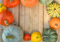 Pumpkins and squashes frame Royalty Free Stock Photo