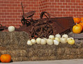 Pumpkins straw antique farm machine Royalty Free Stock Images