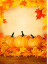 Pumpkins on wooden background with leaves. Royalty Free Stock Images
