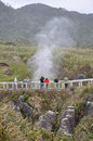 Punakaiki blowhole in action new zealand may tourists enjoy the at the chimney pot at west coast new zealand Stock Photo