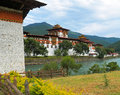 Punakha dzong the palace of great happiness at wangdue valley in bhutan Royalty Free Stock Photo