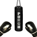 Punching bag and boxing gloves on white background Stock Image