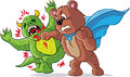 Punching bear part of a series drawing super hero bad guy Royalty Free Stock Photo