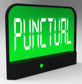 Punctual clock shows timely and on schedule showing Royalty Free Stock Image