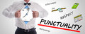 Punctuality concept with a businessman opening his shirt Royalty Free Stock Photography