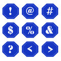 Punctuation marks on blue signs set of with white displayed Stock Images