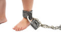Punishment foot a little boy in chains Royalty Free Stock Photography