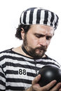 Punishment, one caucasian man prisoner criminal with chain ball Stock Photography