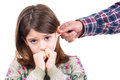 Punishment young girl being punished with ear pulling Stock Photo