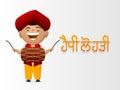 Punjabi festival, Happy Lohri celebration with little boy. Royalty Free Stock Photo