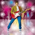 Punk with the guitar vector man all layers well organised and easy to edit Royalty Free Stock Images