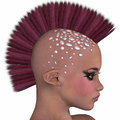 Punk hairstyle profile a d design of a person with a mohawk haircut Royalty Free Stock Photography