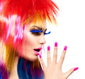 Punk model girl with colorful dyed hair beauty fashion Royalty Free Stock Images