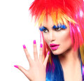 Punk model girl with colorful dyed hair beauty fashion Royalty Free Stock Photography