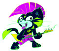 Punk rock cat playing electric guitar Stock Fotografie