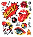Punk Patch Vector Illustration Collection Poster Royalty Free Stock Photo