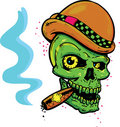 Punk tattoo style skull smoking a cigar