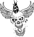 Punk tattoo style skull with wings Stock Image