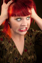 Punky Girl with Red Hair Royalty Free Stock Image