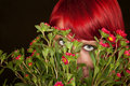Punky Girl with Red Hair and Flowers Royalty Free Stock Photo