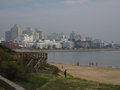 Punta del este beach uruguay in the sand and a line of buildings on a foggy day Royalty Free Stock Photography