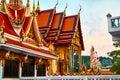 Punto di riferimento della tailandia wat phra yai temple sunset viaggio turismo Fotografia Stock Libera da Diritti