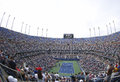 Punto di vista areale di arthur ashe stadium a billie jean king national tennis center durante l us open Fotografie Stock Libere da Diritti
