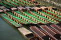 Punts chained together Royalty Free Stock Photo