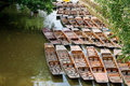 Punts oxford uk on the river cherwel oxfordshire england Royalty Free Stock Photos