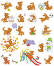 Pup playing vector illustrations of a funny brown puppy Royalty Free Stock Photo