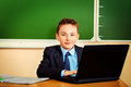 Pupil at classroom Royalty Free Stock Photography