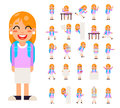 Pupil Girl School Children Student in Different Poses and Actions Teen Characters Kid Icons Set Isolated Education Royalty Free Stock Photo