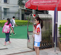 Pupil guard at the school gate in amoy city china Royalty Free Stock Photo